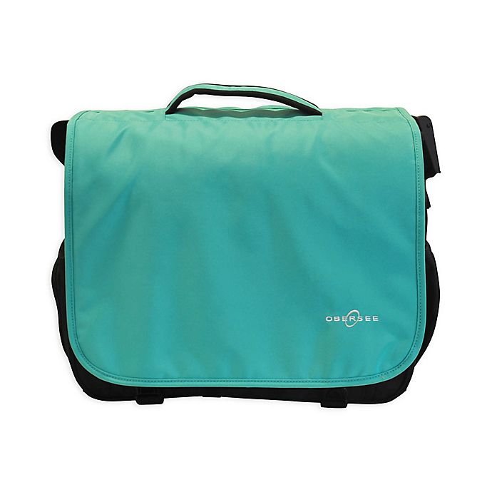 Alternate image 1 for Obersee Madrid Convertible Diaper Messenger Bag with Viola Changing Kit in Turquoise