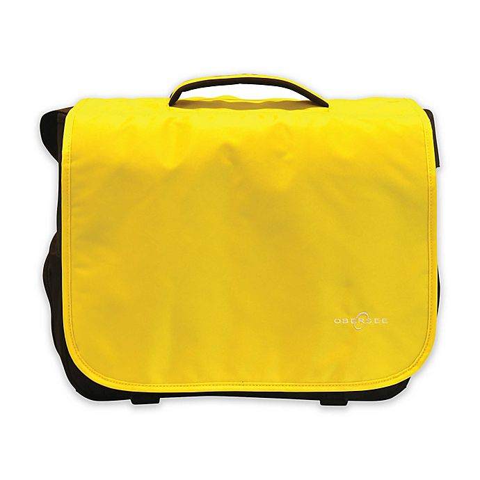 Alternate image 1 for Obersee Madrid Convertible Diaper Messenger Bag with Viola Changing Kit in Yellow