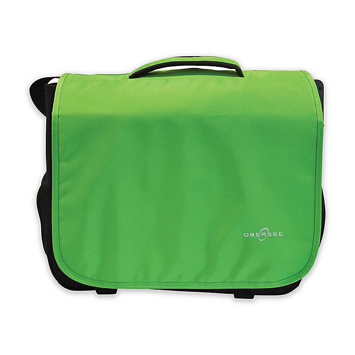 Alternate image 1 for Obersee Madrid Convertible Diaper Messenger Bag with Viola Changing Kit in Green