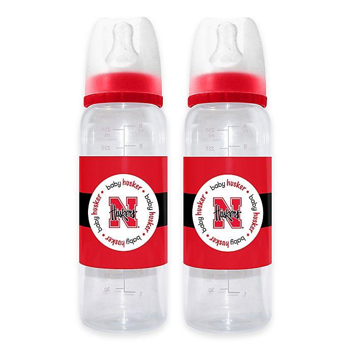 Alternate image 1 for NCAA University of Nebraska 2-Pack 9 fl. oz. Plastic Baby Bottle