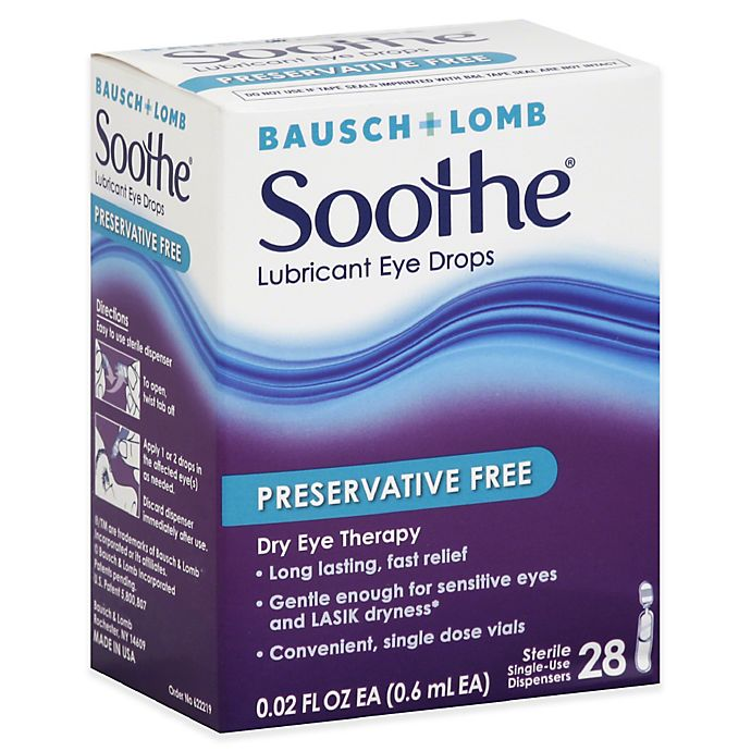 Alternate image 1 for Bausch + Lomb Soothe® 28-Count Lubricant Eye Drops Preservative Free