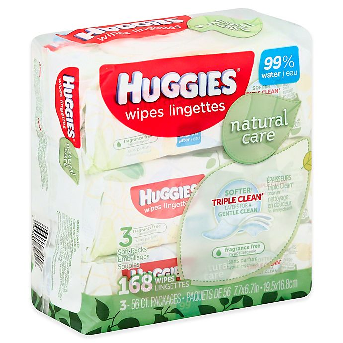 Alternate image 1 for Huggies® Natural Care 3-Pack 56-Count Baby Wipes in Unscented