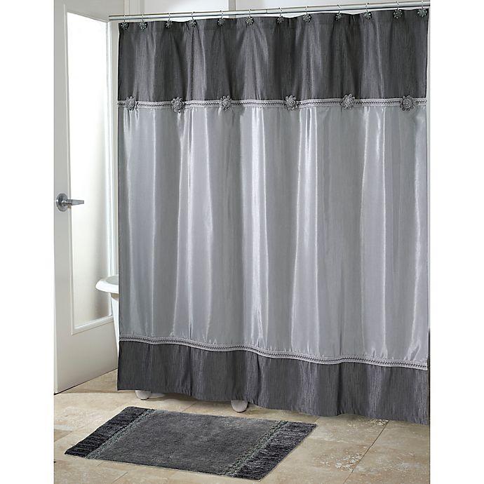 Alternate image 1 for Avanti Braided Medallion Shower Curtain in Granite