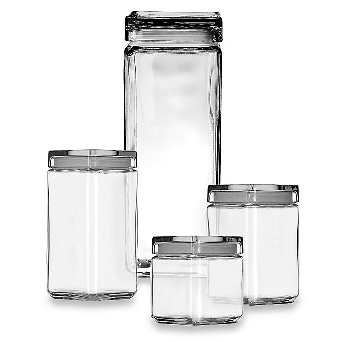 square kitchen canisters anchor hocking 174 stackable square canisters bed bath beyond 2686