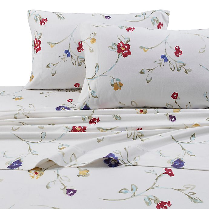 Alternate image 1 for Tribeca Living 170 GSM Print Flannel Deep Pocket Queen Sheet Set in White/Red
