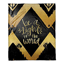 """Be a Light to the World"" Throw Blanket in Gold/Black"