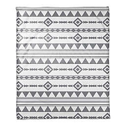 Aztec Throw Blanket in Grey/White