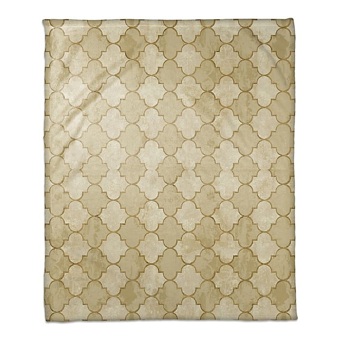 Alternate image 1 for Quatrefoil Throw Blanket in Gold