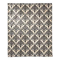 Damask Throw Blanket in Black/Ivory