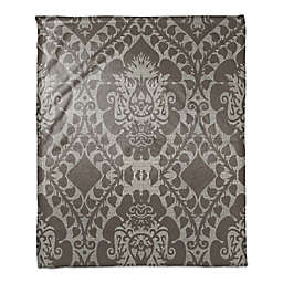 Ornate Tapestry Throw Blanket in Brown