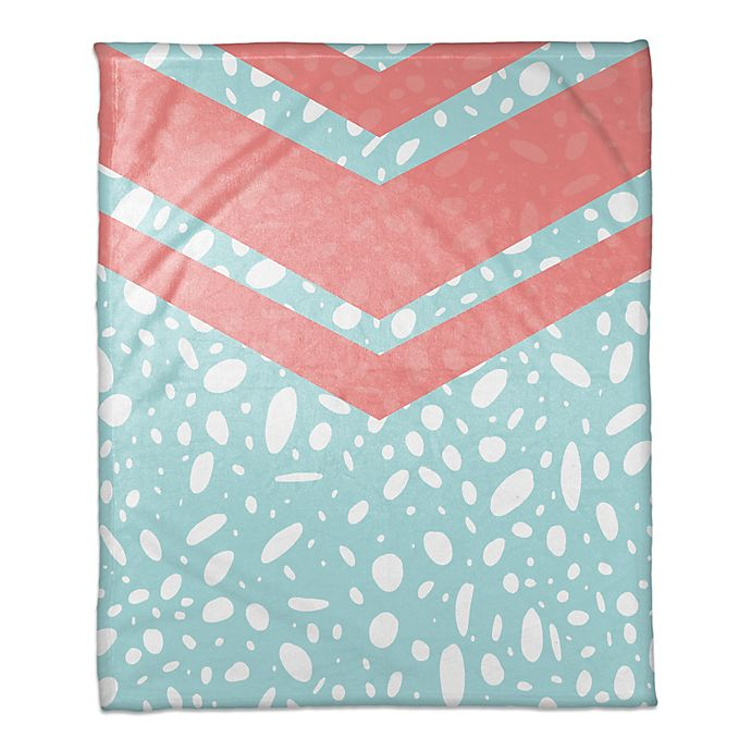 Alternate image 1 for Dalmatian Throw Blanket in Coral/Blue