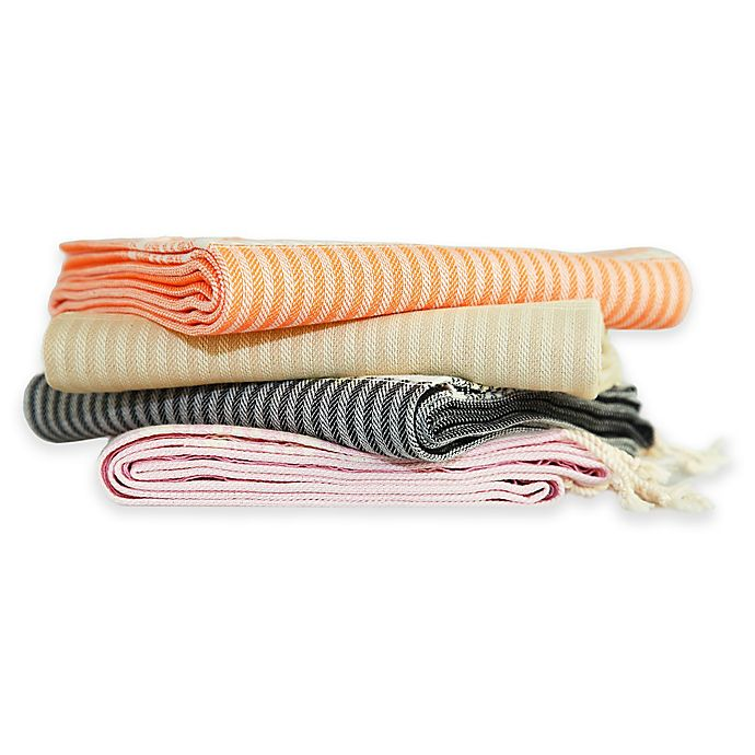 Alternate image 1 for Linum Home Textiles Luxe Herringbone Fouta Pestemal Beach Towels