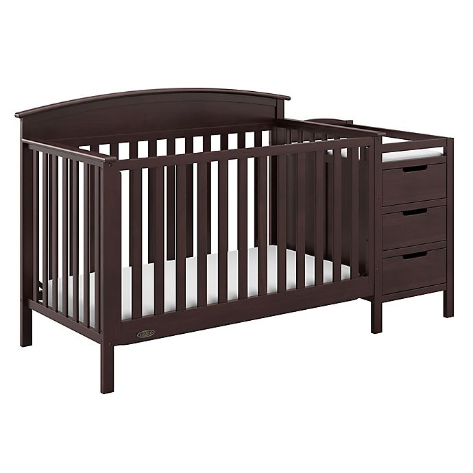 Alternate image 1 for Graco® Benton 4-in-1 Convertible Crib and Changer in Espresso