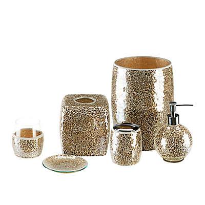 Gold Crackle Mosaic Glass Bath Ensemble