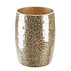 Gold Crackle Mosaic Glass Wastebasket