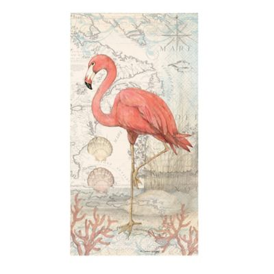 16 count flamingo 3 play paper guest towels bed bath and - Disposable guest towels for bathroom ...