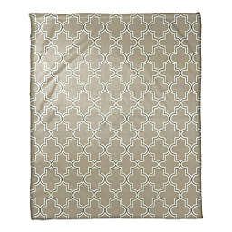 Painted Pattern Throw Blanket in Beige