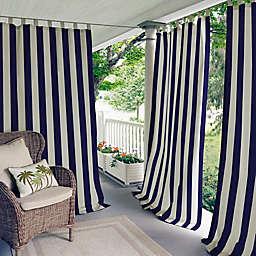 Elrene Highland Stripe 95-Inch Indoor/Outdoor Tab Top Window Curtain Panel in Navy (Single)