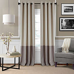 Elrene Braiden 84-Inch Grommet Color Block Room-Darkening Window Curtain Panel in Linen (Single)