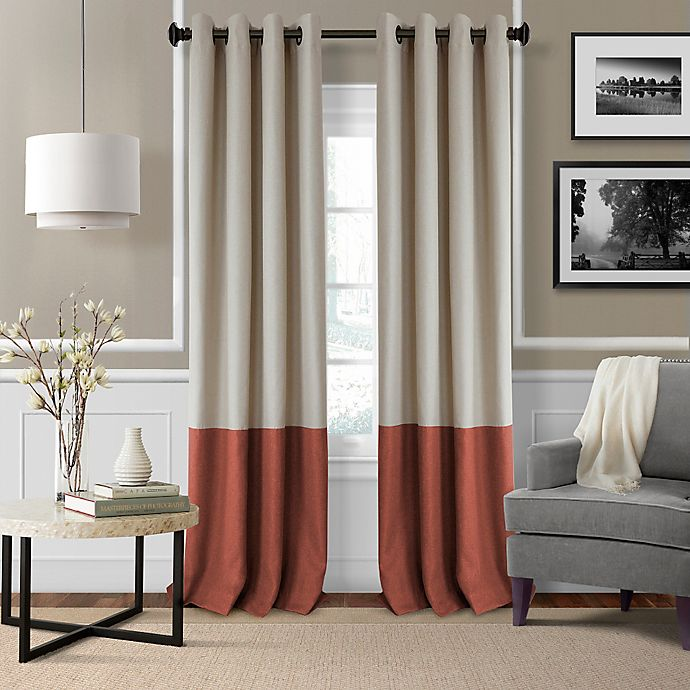Alternate image 1 for Elrene Braiden 95-Inch Grommet Color Block Room-Darkening Window Curtain Panel in Rust