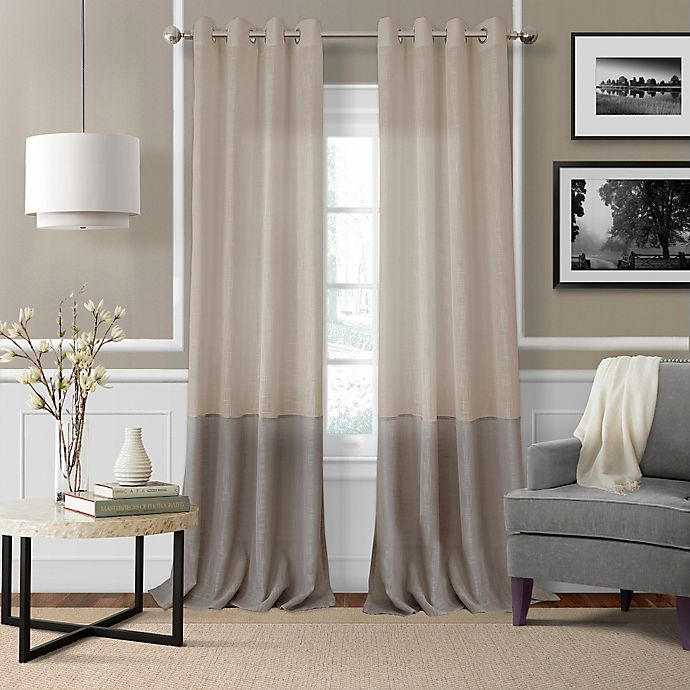 Alternate image 1 for Elrene Melody 95-Inch Grommet-Top Sheer Window Curtain Panel in Linen