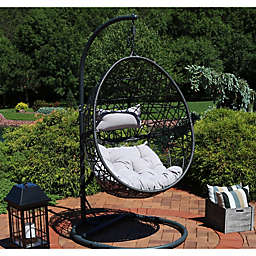 Sunnydaze Decor Caroline Wicker Hanging Egg Chair Swing
