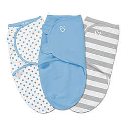 Summer Infant® SwaddleMe® 3-Pack Small/Medium Stars/Solid/Stripe Swaddles in Blue/Grey