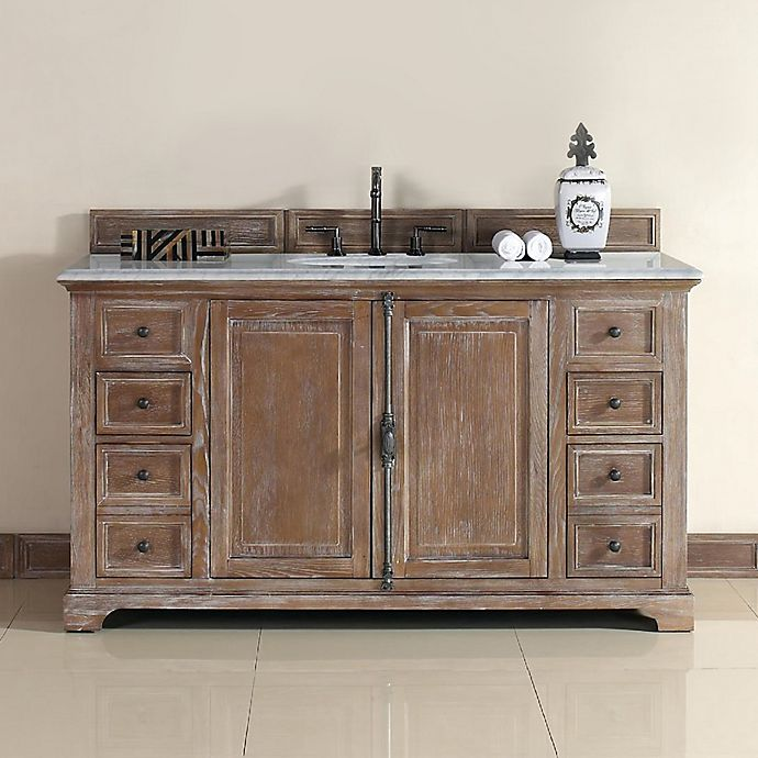 Alternate image 1 for James Martin Furniture Providence 60-Inch Single Vanity with Carrara White Stone Top in Dritftwood