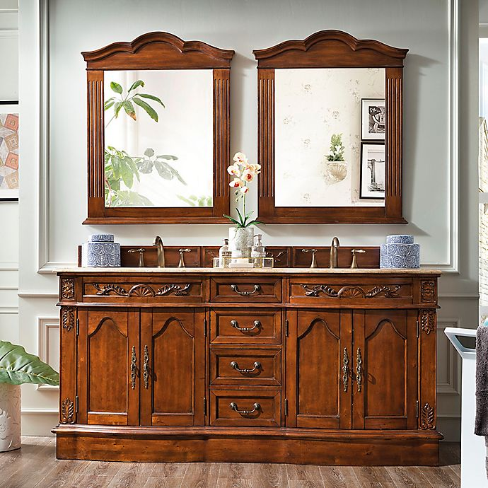 Alternate image 1 for James Martin Furniture Amalfi 72-Inch Double Vanity with Gold Travertine Stone Top in Cherry
