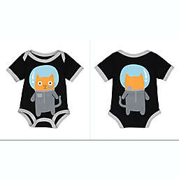 Doodle Pants® Space Cat Bodysuit in Black