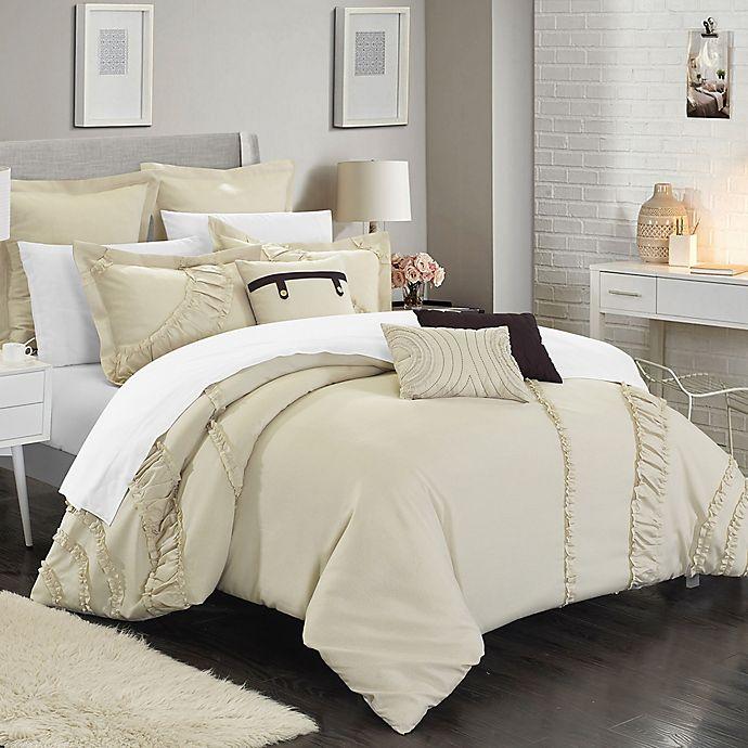 Alternate image 1 for Chic Home Lucerne 8-Piece Queen Comforter Set in Beige