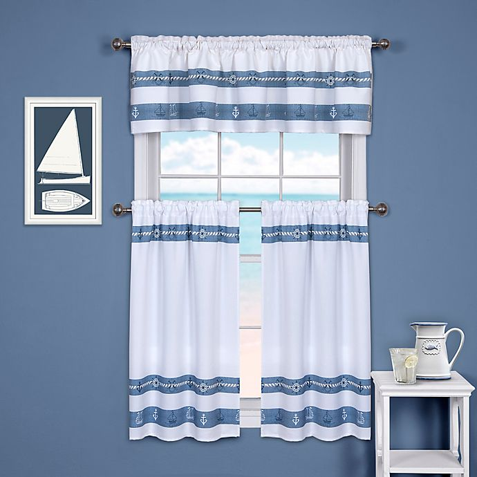Ships And Chambray Kitchen Window Curtain Tier And Valance