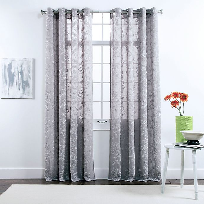 Alternate image 1 for Twill & Birch® Darcy 84-Inch Grommet Top Chenille Embroidered Window Curtain Panels