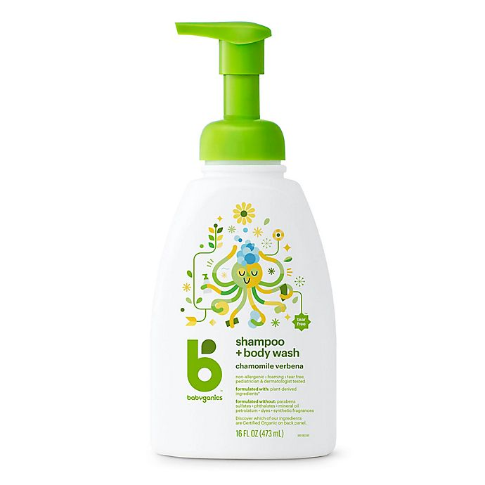 Alternate image 1 for Babyganics® 16 oz. Foaming Shampoo + Body Wash in Chamomile and Verbena