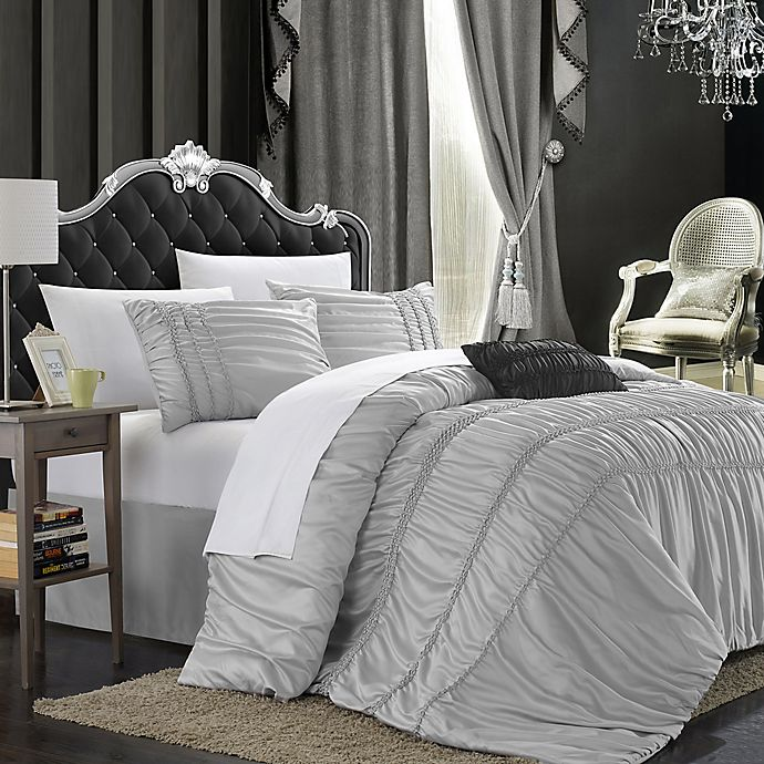 Alternate image 1 for Chic Home Roning 5-Piece King Comforter Set in Silver