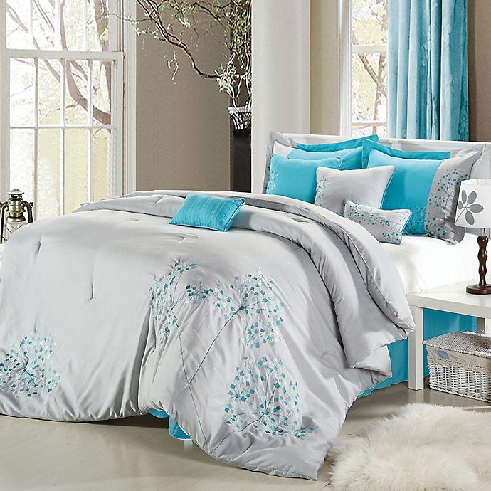 Alternate image 1 for Chic Home Sakura 8-Piece Queen Comforter Set in Grey