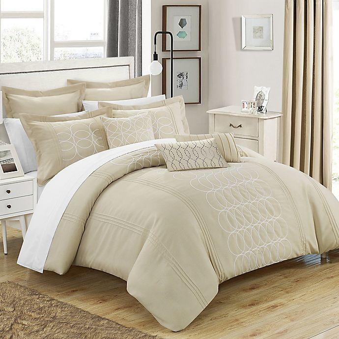 Alternate image 1 for Chic Home 8-Piece Torriano Queen Comforter Set in Beige