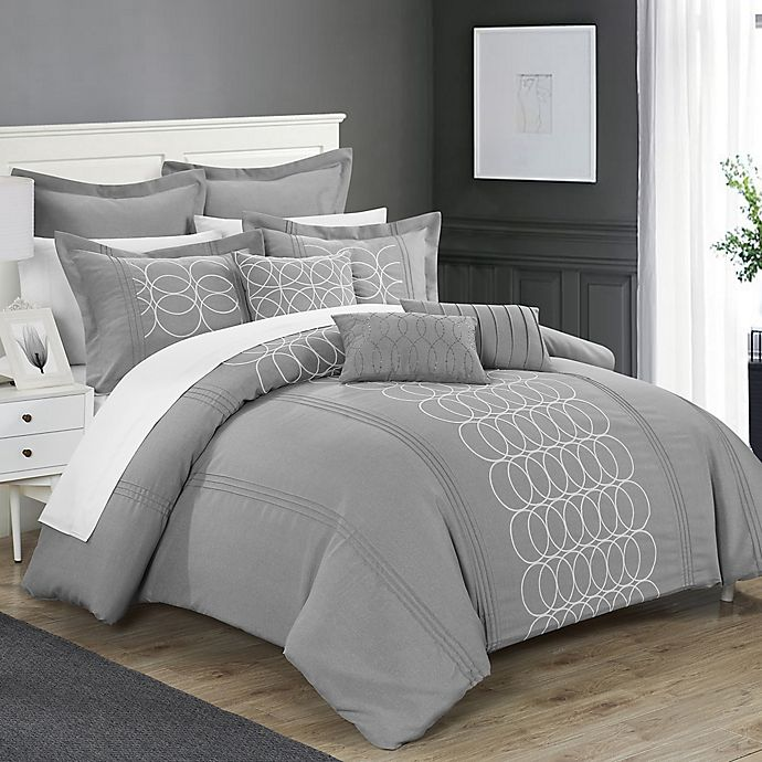 Alternate image 1 for Chic Home 8-Piece Torriano King Comforter Set in Grey