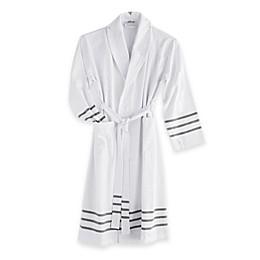 The Pillow Bar® Grey Stripe Turkish Towel Bathrobe in White