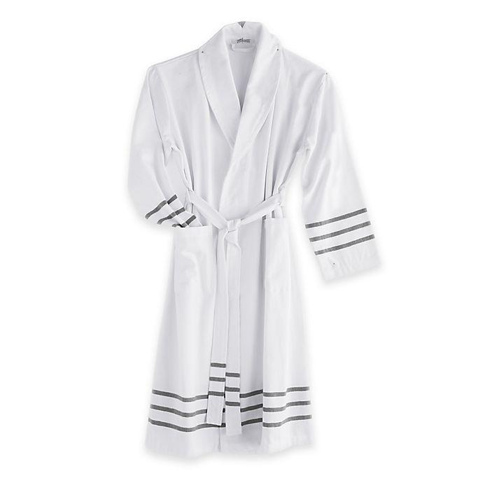 Alternate image 1 for The Pillow Bar® Grey Stripe Turkish Towel Bathrobe in White