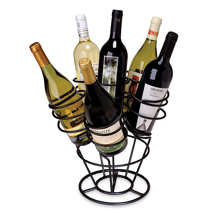 Oenophilia 6 Bottle Bouquet Wine Rackblack Finish Bed Bath Beyond