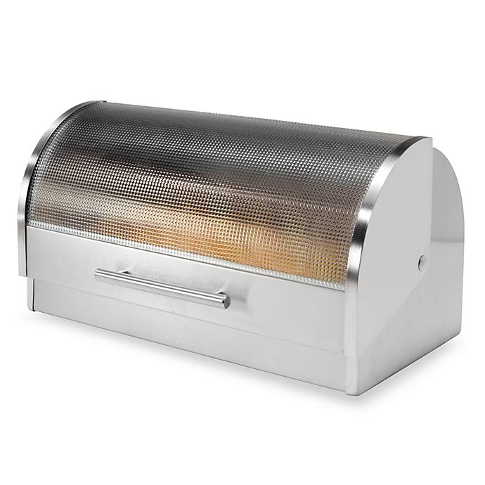 Alternate image 1 for Oggi™ Stainless Steel Glass Roll Top Bread Box