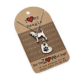 For the Love of Dogs Beagle Necklace and Pet Charm Set in Silver/Gold