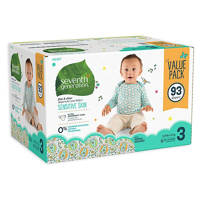 Alternate image 1 for Seventh Generation™ 93-Count Size 3 Free & Clear Diapers