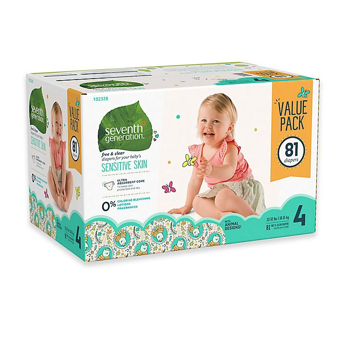 Alternate image 1 for Seventh Generation™ 81-Count Size 4 Free & Clear Diapers
