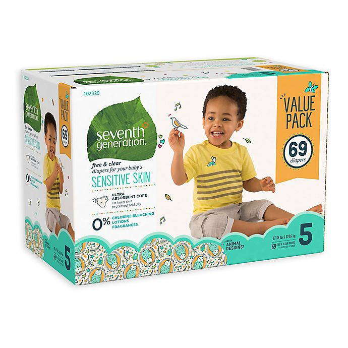 Alternate image 1 for Seventh Generation™ 69-Count Size 5 Free & Clear Diapers