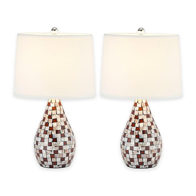 Safavieh Lauralie Capiz Shell Table Lamps In Brown With White Shade