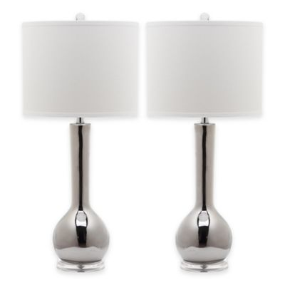 Safavieh Mae Long Neck Table Lamps With White Shades Set Of 2