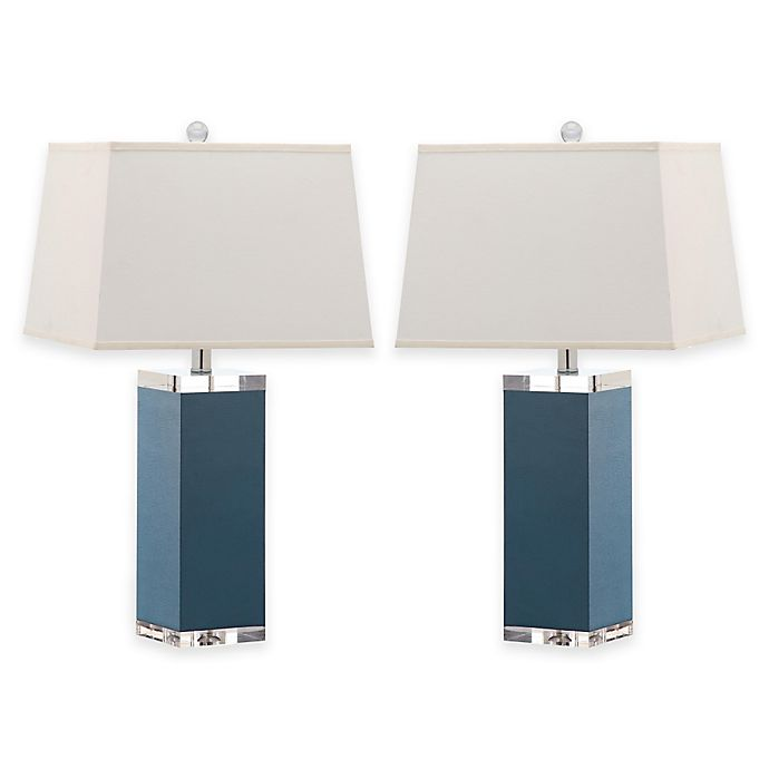 Alternate image 1 for Safavieh Deco Faux Leather Table Lamps in Blue with Cotton Shades (Set of 2)