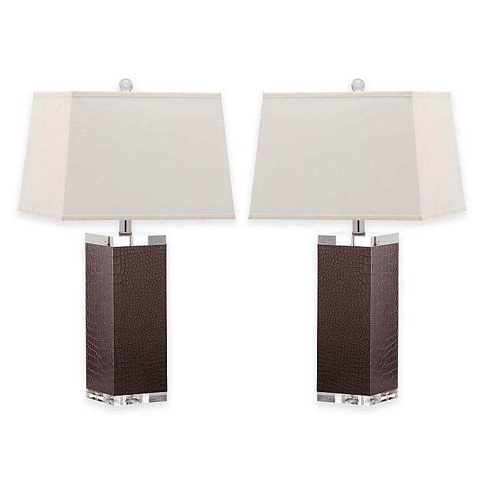 Safavieh Deco Faux Leather Table Lamps With Cotton Shades